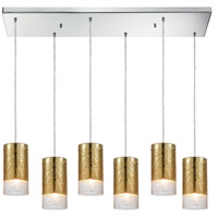 ELK 10580/6RC Tallula 6 Light 32 inch Polished Chrome Mini Pendant Ceiling Light in Rectangular Canopy Rectangular