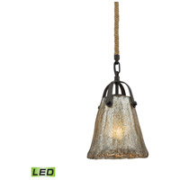 Hand Formed Glass LED 7 inch Oil Rubbed Bronze Pendant Ceiling Light