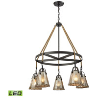 ELK 10631/5CH-LED Hand Formed Glass LED 33 inch Oil Rubbed Bronze Chandelier Ceiling Light