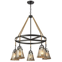 Hand Formed Glass 5 Light 33 inch Oil Rubbed Bronze Chandelier Ceiling Light in Standard