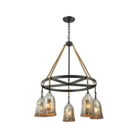 Hand Formed Glass 5 Light 32 inch Oil Rubbed Bronze Chandelier Ceiling Light in Standard