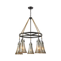 Hand Formed Glass 5 Light 34 inch Oil Rubbed Bronze Chandelier Ceiling Light in Incandescent