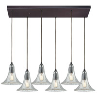 ELK 10652/6RC Hand Formed Glass 6 Light 32 inch Oil Rubbed Bronze Mini Pendant Ceiling Light in Rectangular Canopy Rectangular