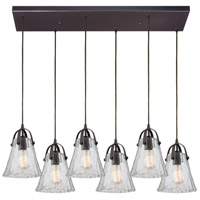 ELK 10661/6RC Hand Formed Glass 6 Light 32 inch Oil Rubbed Bronze Mini Pendant Ceiling Light in Rectangular Canopy Rectangular