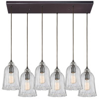 ELK 10671/6RC Hand Formed Glass 6 Light 32 inch Oil Rubbed Bronze Mini Pendant Ceiling Light in Rectangular Canopy Rectangular