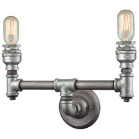 Cast Iron Pipe 2 Light 15 inch Weathered Zinc with Zinc Plating Vanity Light Wall Light