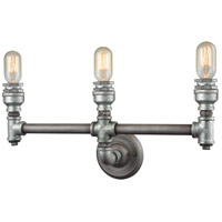 ELK 10684/3 Cast Iron Pipe 3 Light 22 inch Weathered Zinc with Zinc Plating Vanity Light Wall Light