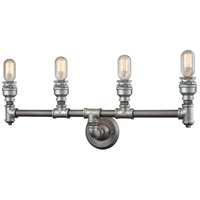 Cast Iron Pipe 4 Light 28 inch Weathered Zinc,Zinc Plating Vanity Wall Light