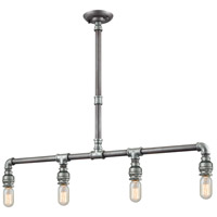 ELK 10690/4 Cast Iron Pipe 4 Light 39 inch Weathered Zinc with Zinc Plating Island Light Ceiling Light