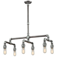Cast Iron Pipe 6 Light 16 inch Weathered Zinc with Zinc Plating Chandelier Ceiling Light