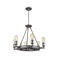 Nautical 6 Light 23 inch Satin Pewter,Polished Nickel Chandelier Ceiling Light