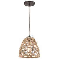 ELK 10709/1 Coastal Inlet 1 Light 9 inch Oil Rubbed Bronze with Rope Mini Pendant Ceiling Light in Standard