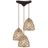 ELK 10709/3 Coastal Inlet 3 Light 12 inch Oil Rubbed Bronze with Rope Pendant Ceiling Light in Triangular Canopy