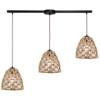 ELK 10709/3L Coastal Inlet 3 Light 36 inch Oil Rubbed Bronze with Rope Pendant Ceiling Light in Linear with Recessed Adapter