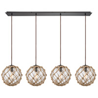 Coastal Inlet 4 Light 46 inch Oil Rubbed Bronze Linear Pendant Ceiling Light