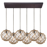 Coastal Inlet 6 Light 32 inch Oil Rubbed Bronze Pendant Ceiling Light in Rectangular Canopy
