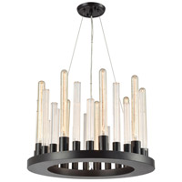 Elk Lighting Glass Skyline 9 Light Chandelier in Oil Rubbed Bronze 10720/9