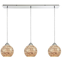 Crosshatch 3 Light 36 inch Polished Chrome Linear Pendant Ceiling Light, Linear Pan