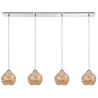 Crosshatch 4 Light 46 inch Polished Chrome Pendant Ceiling Light, Linear Pan