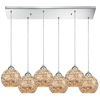 Crosshatch 6 Light 30 inch Polished Chrome Pendant Ceiling Light in Rectangular Canopy