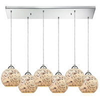 ELK 10741/6RC Spatter 6 Light 30 inch Polished Chrome Mini Pendant Ceiling Light in Rectangular Canopy, Rectangular