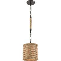 ELK 10751/1 Weaverton 1 Light 8 inch Oil Rubbed Bronze with Rope Mini Pendant Ceiling Light