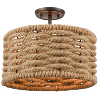 ELK 10756/2 Weaverton 2 Light 15 inch Oil Rubbed Bronze with Rope Semi Flush Mount Ceiling Light