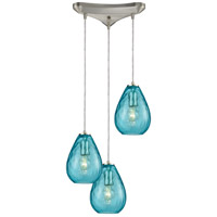Lagoon 3 Light 10 inch Satin Nickel Pendant Ceiling Light, Triangle Pan