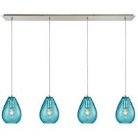 Lagoon 4 Light 46 inch Satin Nickel Pendant Ceiling Light, Linear Pan