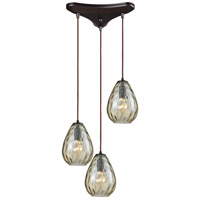 Lagoon 3 Light 10 inch Oil Rubbed Bronze Pendant Ceiling Light, Triangle Pan