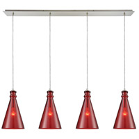 Parson 4 Light 46 inch Satin Nickel Linear Pendant Ceiling Light, Linear Pan