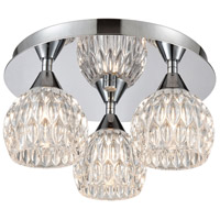 ELK 10823/3 Kersey 3 Light 12 inch Polished Chrome Semi Flush Mount Ceiling Light