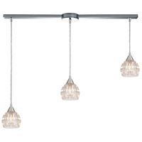ELK 10824/3L Kersey 3 Light 36 inch Polished Chrome Pendant Ceiling Light in Linear with Recessed Adapter