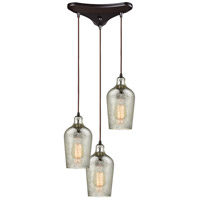 Hammered Glass 3 Light 10 inch Oil Rubbed Bronze Pendant Ceiling Light in Triangular Canopy, Triangle Pan