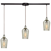 Hammered Glass 3 Light 36 inch Oil Rubbed Bronze Linear Pendant Ceiling Light in Linear with Recessed Adapter
