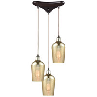 ELK 10840/3 Hammered Glass 3 Light 10 inch Oil Rubbed Bronze Pendant Ceiling Light in Triangular Canopy, Triangle Pan
