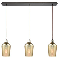 Hammered Glass 3 Light 36 inch Oil Rubbed Bronze Linear Pendant Ceiling Light, Linear Pan