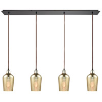 Hammered Glass 4 Light 46 inch Oil Rubbed Bronze Linear Pendant Ceiling Light, Linear Pan