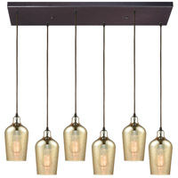 Hammered Glass 6 Light 30 inch Oil Rubbed Bronze Pendant Ceiling Light in Rectangular Canopy