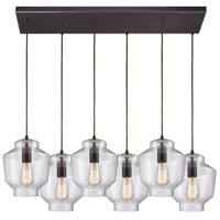 ELK 10905/6RC Barrel 6 Light 32 inch Oil Rubbed Bronze Mini Pendant Ceiling Light in Rectangular Canopy Rectangular
