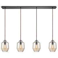 ELK 10910/4LP Barrel 4 Light 46 inch Oil Rubbed Bronze Mini Pendant Ceiling Light in Linear, Linear