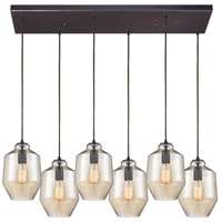 ELK 10910/6RC Barrel 6 Light 32 inch Oil Rubbed Bronze Mini Pendant Ceiling Light in Rectangular Canopy Rectangular