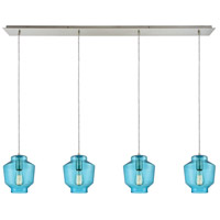 ELK 10915/4LP Barrel 4 Light 46 inch Satin Nickel Mini Pendant Ceiling Light in Linear, Linear