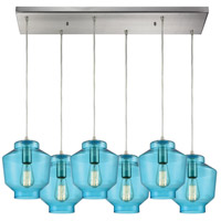 ELK 10915/6RC Barrel 6 Light 32 inch Satin Nickel Mini Pendant Ceiling Light in Rectangular Canopy, Rectangular