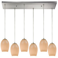Villiska 6 Light 32 inch Satin Nickel Pendant Ceiling Light in Rectangular Canopy