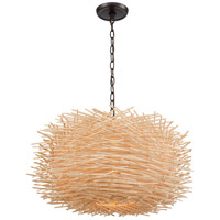 ELK 10951/3 Bamboo Nest 3 Light 23 inch Oil Rubbed Bronze with Bamboo Sticks Pendant Ceiling Light