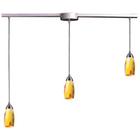 Milan 3 Light 36 inch Satin Nickel Pendant Ceiling Light in Yellow Blaze Glass