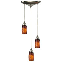Milan 3 Light 10 inch Satin Nickel Pendant Ceiling Light in Espresso Glass