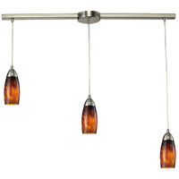Milan 3 Light 36 inch Satin Nickel Pendant Ceiling Light in Espresso Glass
