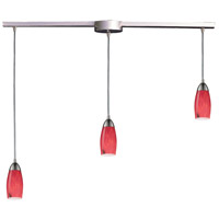 Milan 3 Light 36 inch Satin Nickel Pendant Ceiling Light in Fire Red Glass